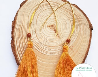 "Earrings ""Sam"" Camel tassel and shimmering pearl"