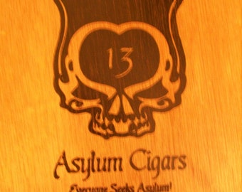 Wooden Cigar Box - Empty - Asylum Cigars - 13 - 70 x 7