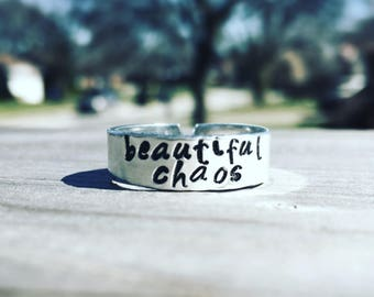 Beautiful Chaos, Hand Stamped Ring, Adjustable Ring, Custom Ring, Name Ring, Personalized Ring, Custom Jewelry, Name Jewelry, Gift for Mom