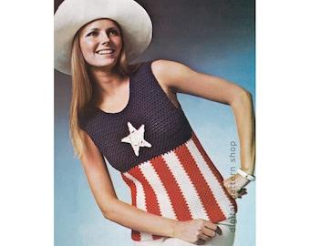 Crochet Top Pattern Star & Stripes Tank Top 4th of July Crochet Pattern Americana Women Sleeveless Sweater Instant Download PDF Pattern C131