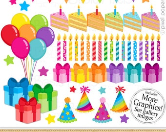 Birthday Clipart - Digital Clip Art - Rainbow Birthday - Personal and commercial use
