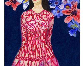 Valentino Moorish Love Floral Fashion Illustration Watercolor Fine Art Giclee Print Original Artwork