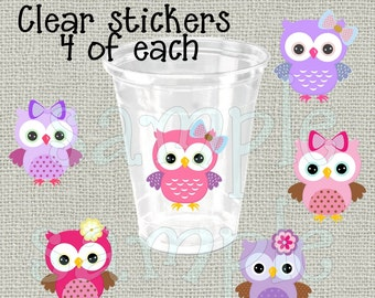 24 Girl owls baby shower stickers Decorations Birthday Party stickers Party stickers Party cup stickers decals favors DIY or Precut owl