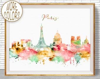 Paris France Paris Decor Paris Print Paris Skyline Paris Poster Paris Art Print Paris Wall Art Office Poster ArtPrintZoneGift for Women