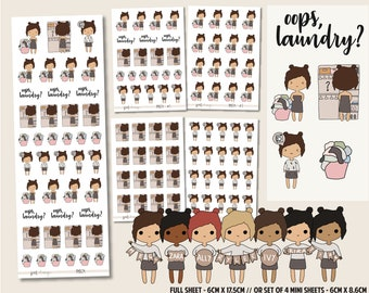Oops, Laundry? | PMD Girl Stickers | Mini Planner Sticker Sheets - PMD24