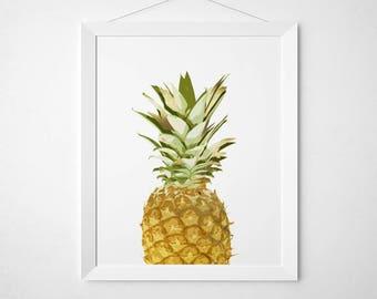 Pineapple wall decor - Pineapple Wall Art - Fruit Print - Pineapple print - Faux Gold Foil Wall Art
