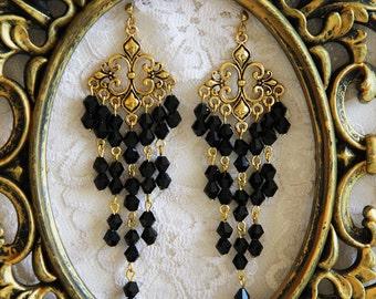 Long earrings black and gold earrings Long gold earrings Long black earrings for women Earrings evening long dangle earrings vintage