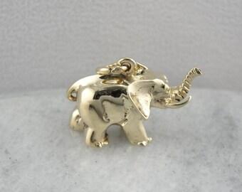 Lucky Elephant, Solid Gold Elephant Pendant  HNQT7X-P