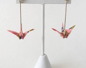 Pink origami crane earrings, pink wife gift, wife christmas jewelry, wife gift earrings, japanese jewelry, origami jewelry, origami crane