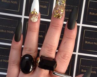 Hand Painted Press on nails false nails khaki green white gold long stiletto matte finish
