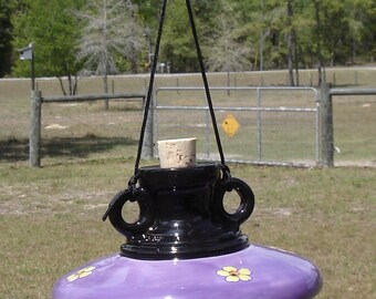 Ceramic Hummingbird Feeder, Traditional Style, Wisteria Purple, Black