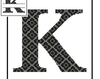 Monogram K Cross Stitch Pattern K Initial K Letter cross stitch Wedding Gift House Warming split letter cross Wedding Record Anniversary