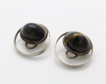 Unusual Pietersite Cats Eye Vintage Modernist Clip Earrings Sterling Silver. [52]