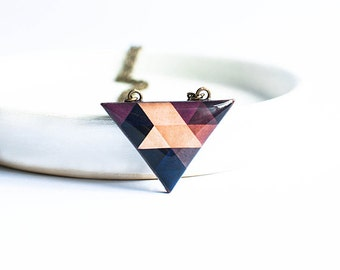 Brown triangle necklace, geometric jewelry, long necklace handmade