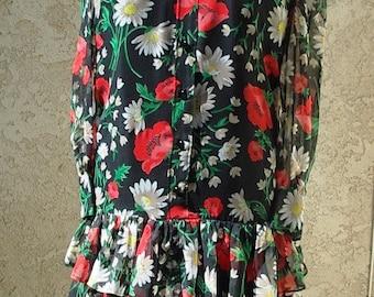 "1920's ""Flapper"" Style Floral Print Chiffon  Dress  Designer Sample Size 10 Item #221 Daytime Dresses"