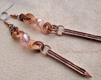 Peach Swirls, Dangling Spike Earrings