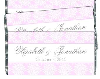 Printable Candy Wrappers, Wedding Candy Wrappers, fit over chocolate bars - CUSTOM design for you - bridal shower, wedding shower