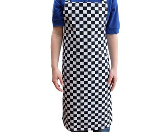 Children's Cooking  Apron Checked Suitable for all Kitchens, Blue, Red, and Black Poly Cotton. Professional Standard Large Size Range.