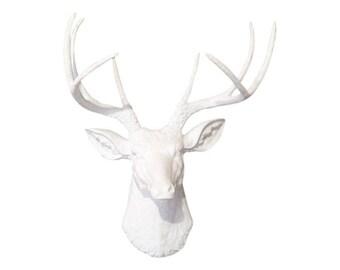 White Deer Head Wall Mount - Faux Taxidermy Deer Head in White - Baby Nursery Decor - Fake Deer Head D0101