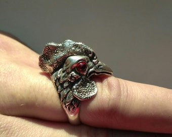 Rooster cock silver ring rooster jewelry art new year gift