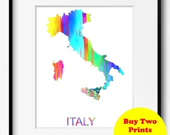 Italy Watercolor Map Art Print (526) Europe Rome