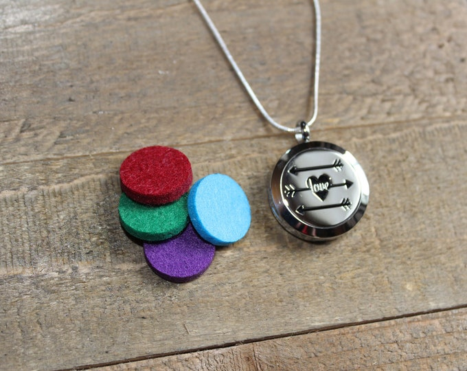Essential Oil Diffuser Locket | Stainless Steel Locket | Diffuser Necklace | Essential Oil locket | Sterling Silver Chain | ESC Love Arrows