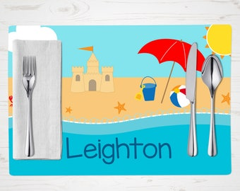 Personalized Children's Placemat - Beach Placemat - Personalized with Child's Name - Custom Placemat