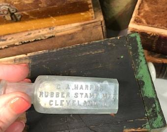 Vintage Bottle- Rubber Stamp Mfr.- Seafoam Green Small BOTTLE- Cleveland OH Rustic Home Decor- B48