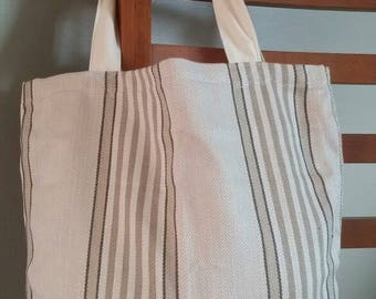 Striped neutral tote