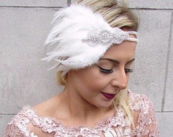 Ivory Cream Silver Feather Headpiece 1920s Headband Flapper Great Gatbsy 4618