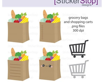 Groceries and Shopping Cart Clipart, PNG Digital Clipart - Instant download - Grocery bag, shop, basket, groceries, errands, icon