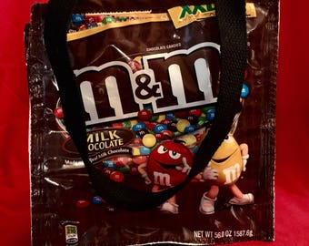Fun Eco Friendly Purse or Lunch bag made with chocolate candy bags YUM upcycled repurposed