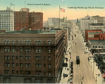 Seattle Washington Looking North Up Third Avenue Vintage Postcard circa 1910 (unused)