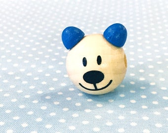 large wooden bead bear blue