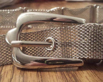 Vintage Silver Belt with Buckle 1970s D395