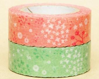 NamiNami Washi Masking Tape - Pink & Green Garden