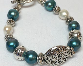 Blue Glass and Fresh Water Pearl Bracelet with Pewter Findings