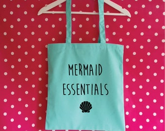 Mermaid Essentials Tote Bag. Mermaid Bag. Mermaid Gift. Cotton Bag. Beach Bag. Shopping Bag. Bag For Life. Mermaid Tote.