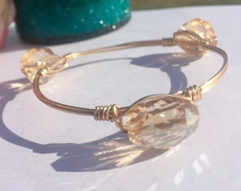 Citrine Faceted Glass Beaded Gold Wire Wrapped Bangle Bracelet