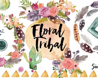 Floral tribal clip art, hand painted watercolor clip art, digital flowers, peony flowers 96 PNG  files
