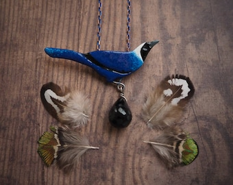 Beautiful jay enameled copper pendant, blue bird nature inspired pendant, elegant, statement necklace, gift for her