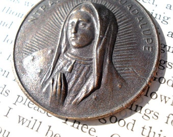 "Our Lady of Guadalupe - Religious Medal -  1/8"" - Bronze or Sterling Silver - Made in the USA (M36-1195)"