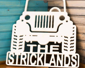 Free Shipping Jeep with last name made from white high grade pvc makes a great gift. Safe for outdoor use as well, weatherproof.