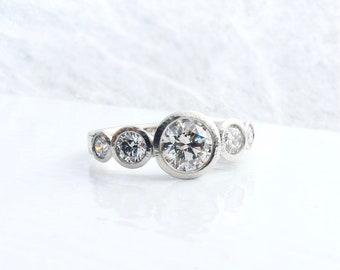 Platinum and diamond five stone ring, diamond anniversary ring, alternative engagement ring, stacking platinum and diamond rings