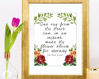 Therese of Lisieux Little Flower God's Love Art Print Christian Wall Art Inspirational Prints
