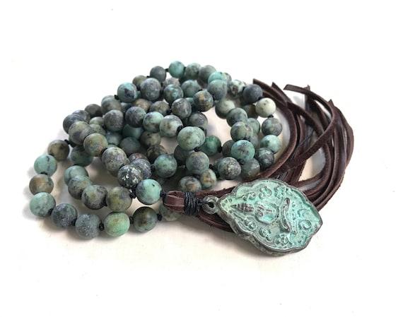 MALA FOR GROWTH - African Turquoise Mala Beads - Leather Tassel Mala Necklace - Buddha Pendant Mala Bead - 108 Bead Meditation Mala