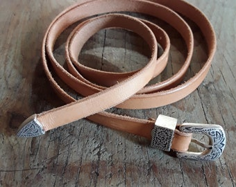 Boho Style Leather Belt - Western Leather Belt - Womens Leather Belt - Western Style - Hippie Leather Belt