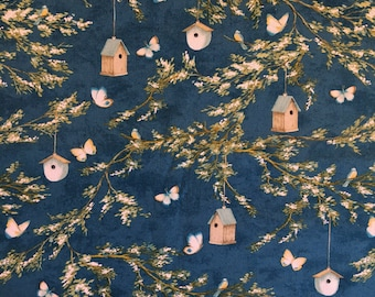 1 Yard Wilmington Prints Lakeside Retreat by Daphne B Midnight Blue Branches NEW