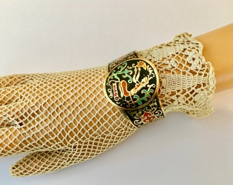 Cool Vintage Enameled Brass Cuff Bracelet for Virgo Girl