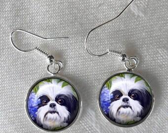 Black & White Shih Tzu Earrings ~ Birthday Gift ~ Pet Keepsake ~ June Birthday Gift